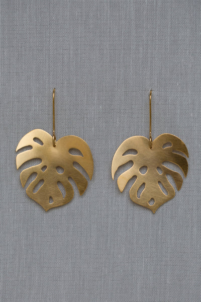 Monstera 2 Leaf Drop Earrings