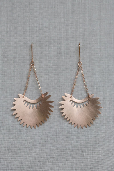 Fan Palm Leaf Drop Earrings
