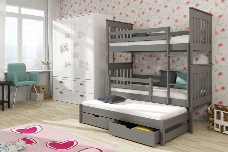 Wooden Bunk Bed Jarek with Trundle and Storage