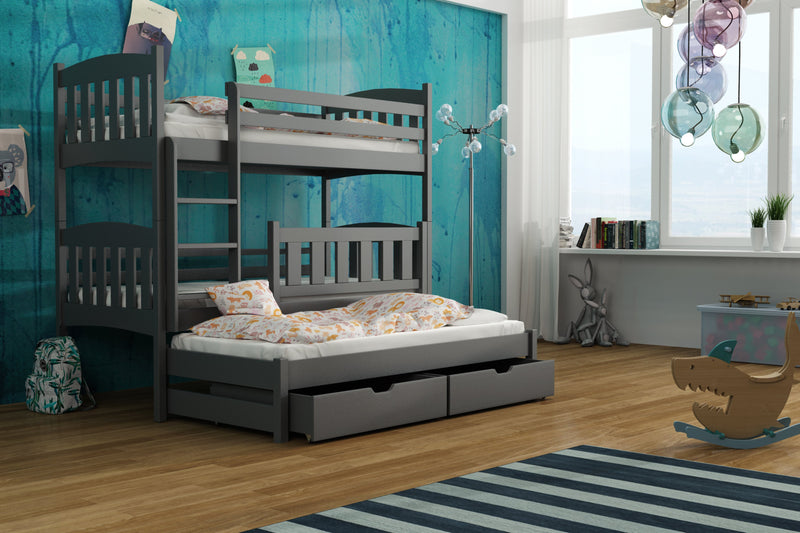 Wooden Bunk Bed Anka with Trundle and Storage