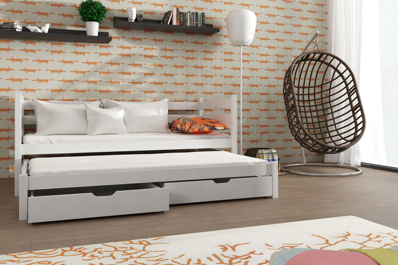 Wooden Double Bed Tosia with Trundle and Storage