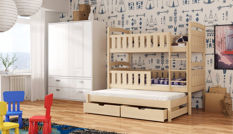 Wooden Bunk Bed Anatol with Trundle and Storage