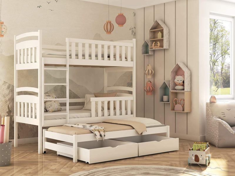 Wooden Bunk Bed Viki with Trundle and Storage