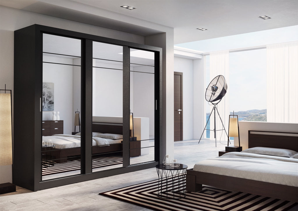 Arti AR-02 Sliding Door Wardrobe 250cm in Black