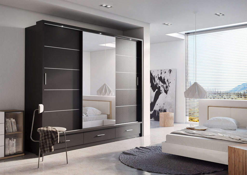 Arti AR-01 Sliding Door Wardrobe 250cm in Black Matt