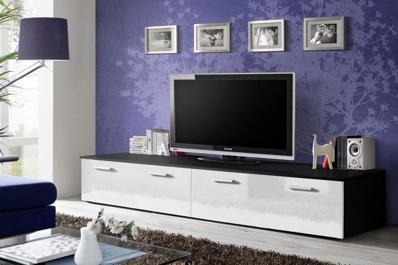 Duo TV Cabinet in Black and White Gloss