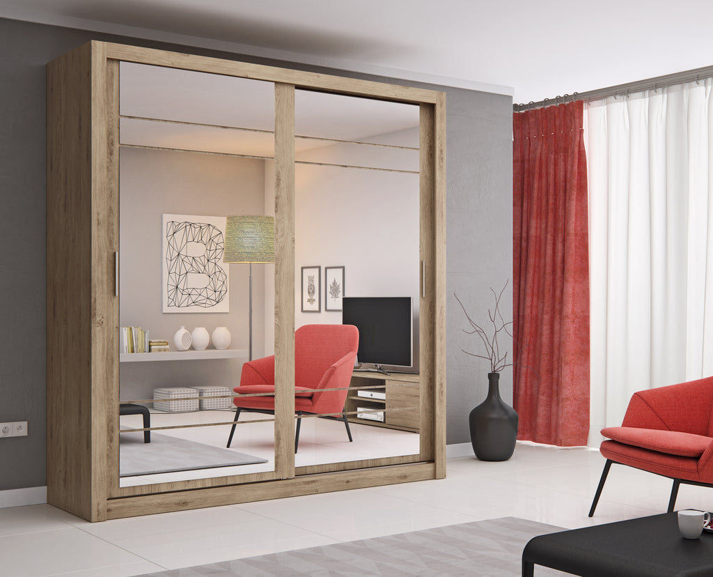 Arti AR-08 Sliding Door Wardrobe 203cm in Shetland Oak