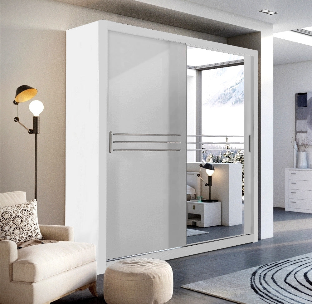 Havana ID-12 Sliding Door Wardrobe 203cm in White Matt