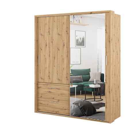 Arti 22 Oak Artisan 2 Sliding Door Wardrobe with Drawers 180cm