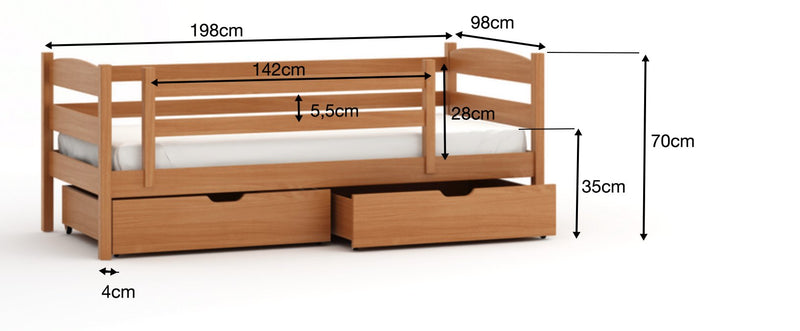 Wooden Single Bed Zoska with Storage