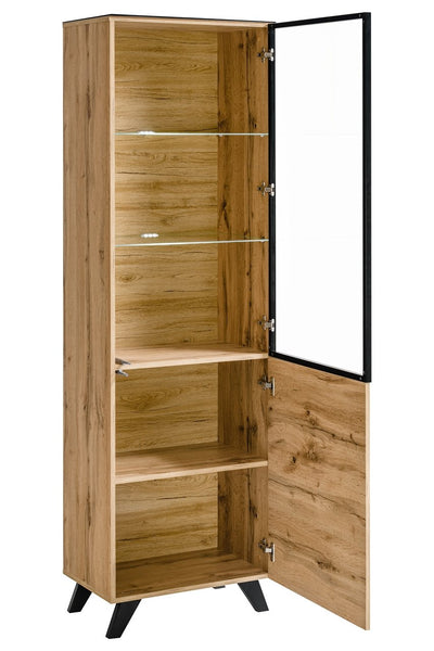 Thin Tall Display Cabinet in Wotan Oak