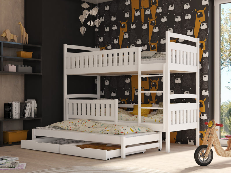 Wooden Bunk Bed Blanka with Trundle and Storage