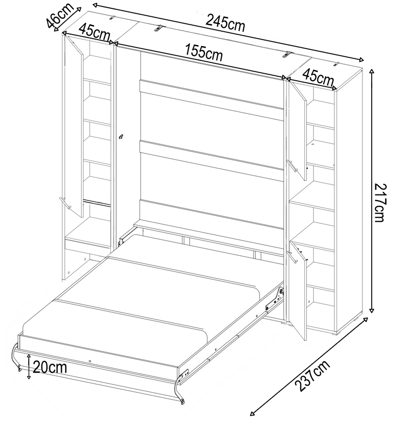 CP-01 Vertical Wall Bed Concept 140cm with Storage Cabinets