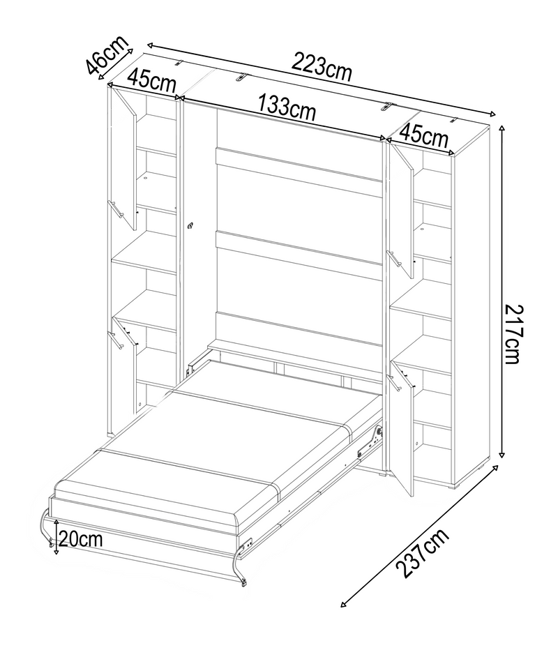 CP-02 Vertical Wall Bed Concept 120cm with Storage Cabinet