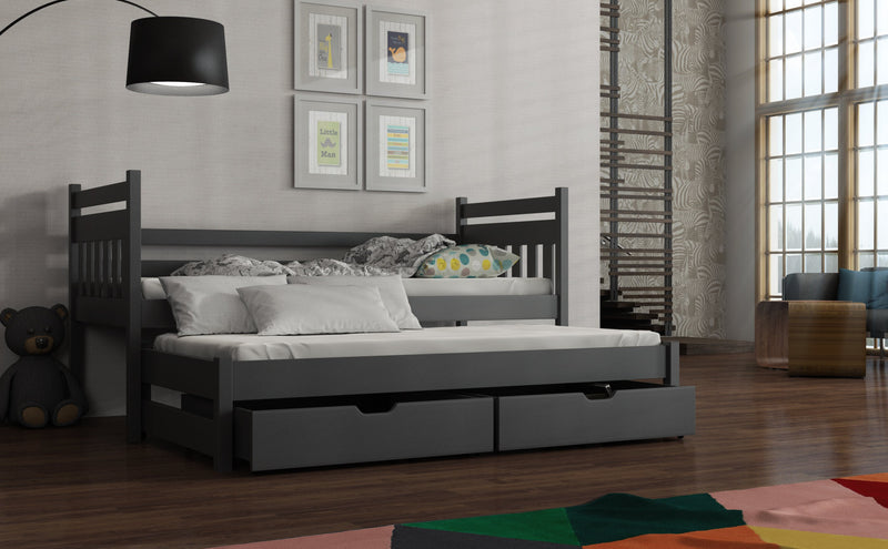 Wooden Double Bed Daniel with Trundle and Storage