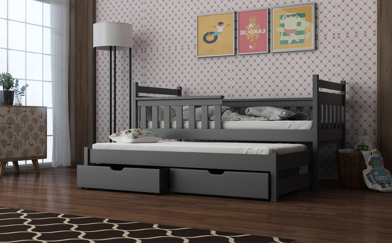 Wooden Bed Dominik with Trundle and Storage