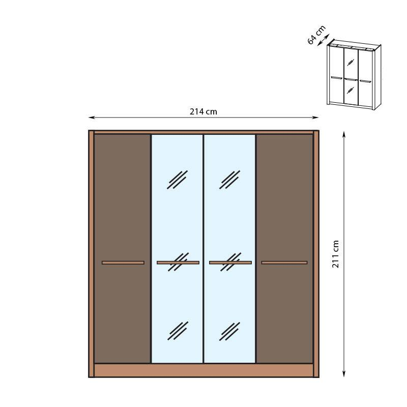 London 4 Door Wardrobe 214cm