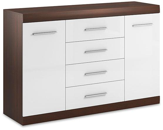 Bordo Sideboard Cabinet 07 in Oak Chocolate and White Gloss