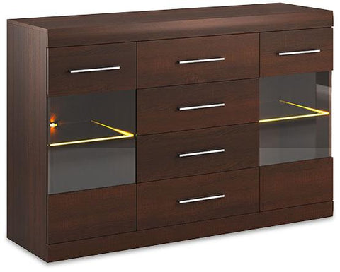 Bordo Wide Display Cabinet 08 in Oak Chocolate