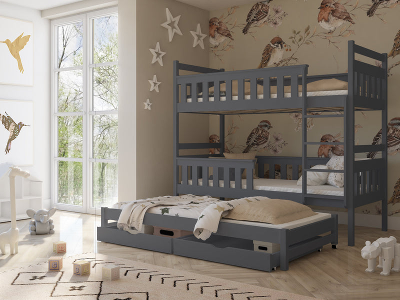 Wooden Bunk Bed Kors with Trundle and Storage