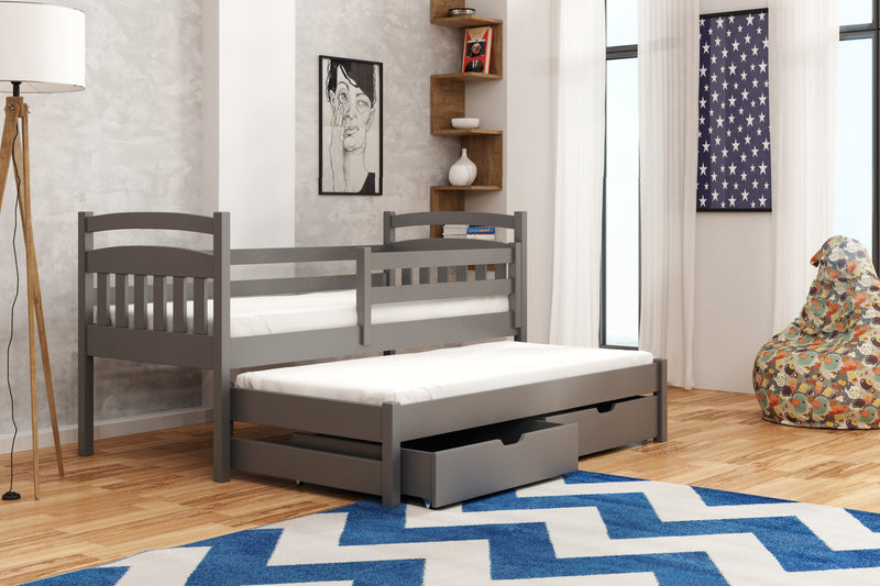 Wooden Double Bed Marcin with Trundle and Storage