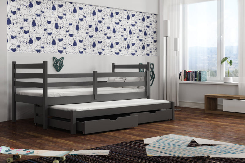 Wooden Double Bed Mondo with Trundle and Storage