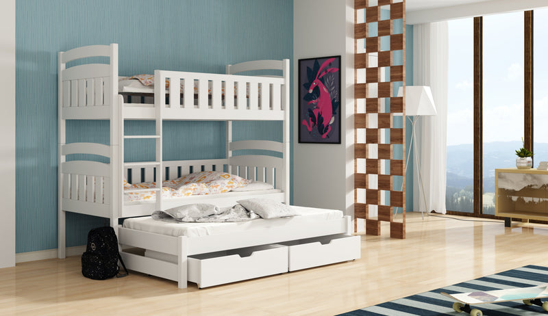 Wooden Bunk Bed Ola with Trundle and Storage