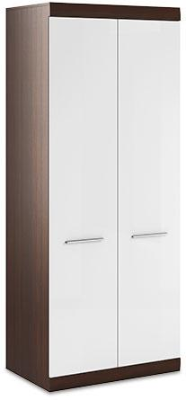 Bordo 2 Door Wardrobe 01 Oak Chocolate and White Gloss