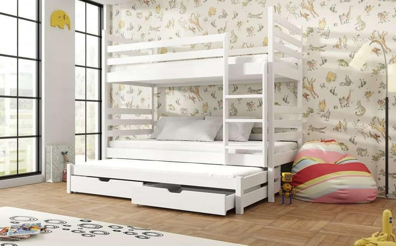 Wooden Bunk Bed Tomi with Trundle and Storage