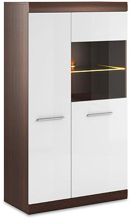 Bordo Display Cabinet 06 in Oak Chocolate and White Gloss