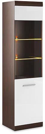 Bordo Tall Display Cabinet 02 Oak Chocolate and White Gloss