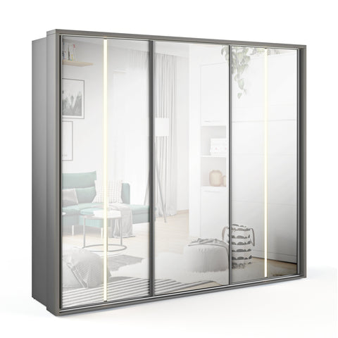 Arti 20 Grey 3 Sliding Door Wardrobe 250cm with LED