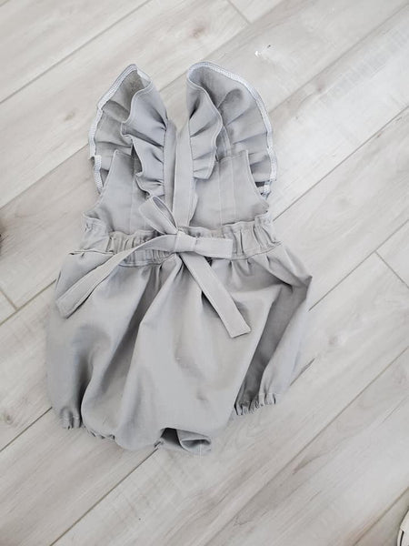 Spring Pastel Linen Emmy Romper Without Ruffles