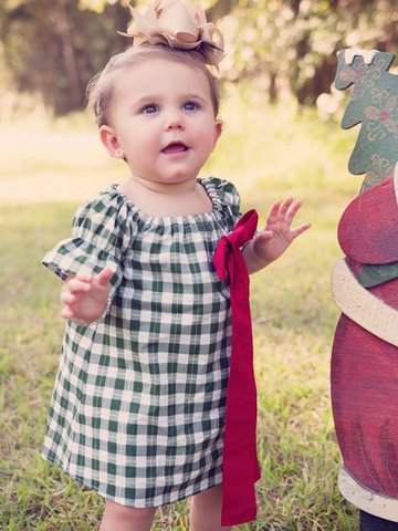 Green Plaid Simple Dress