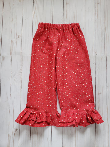 Blu Christmas Cardinals Ruffle Pants