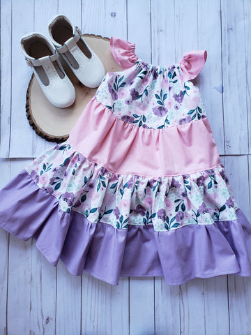 Lavendar Water Color Twirl Dress