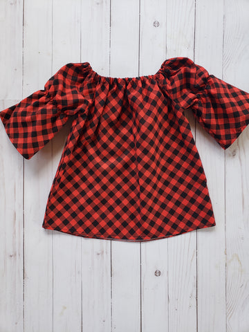 Buffalo Plaid 3/4 Sleeve Top