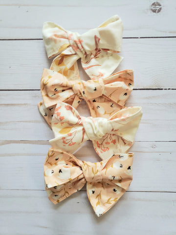 Cream Floral Bow