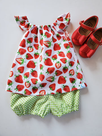 Strawberry Fields Gingham Bloomers or Cuff Shorts