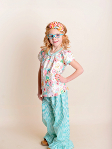 Teal Floral Ruffle Pants