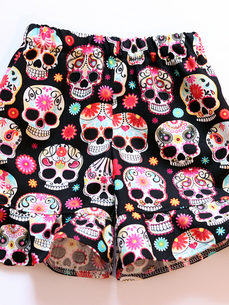 Sugar Skull Ruffle Shorties
