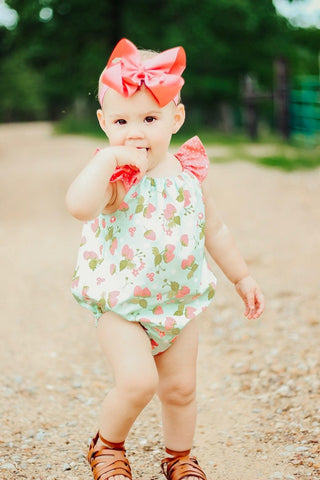 Vintage Summer Strawberry Bubble Romper