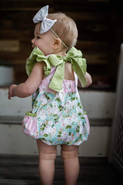 Spring Floral Blue Pocket Romper