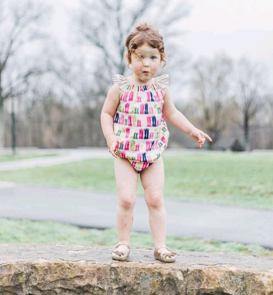 It's Rainin' Hens Boots Bubble Romper