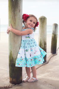 Vintage Summer Seaside Twirl Dress