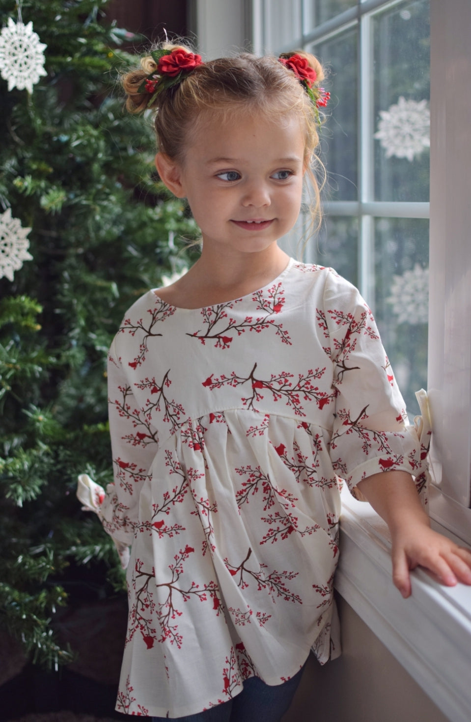 Blu Christmas Cardinals Lydia Top