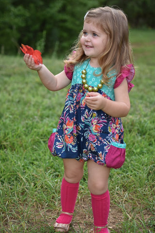 Water Flowers Pocket Romper