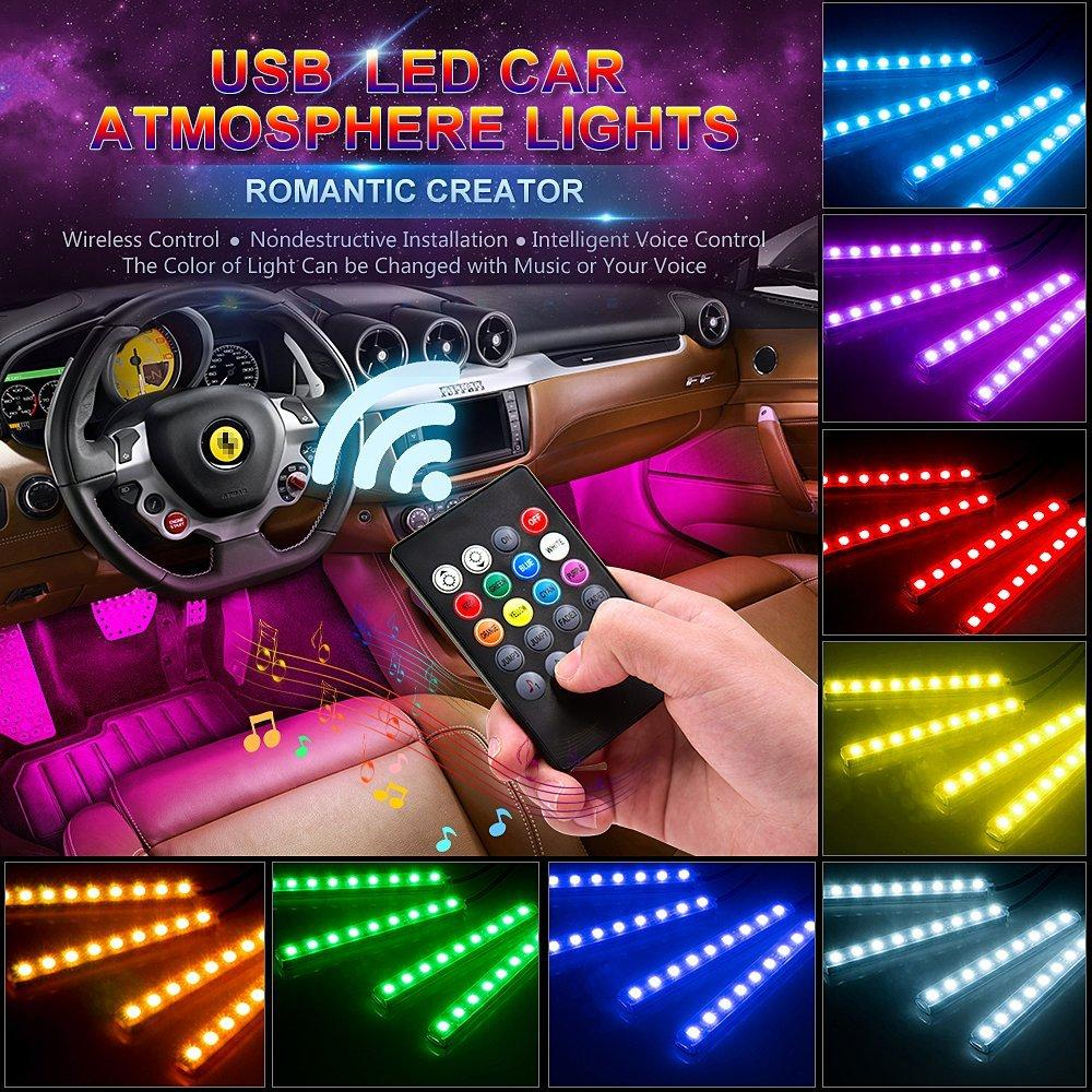 Rgb car led strip lights 4 pieces wooxify rgb car led strip lights 4 pieces aloadofball Gallery