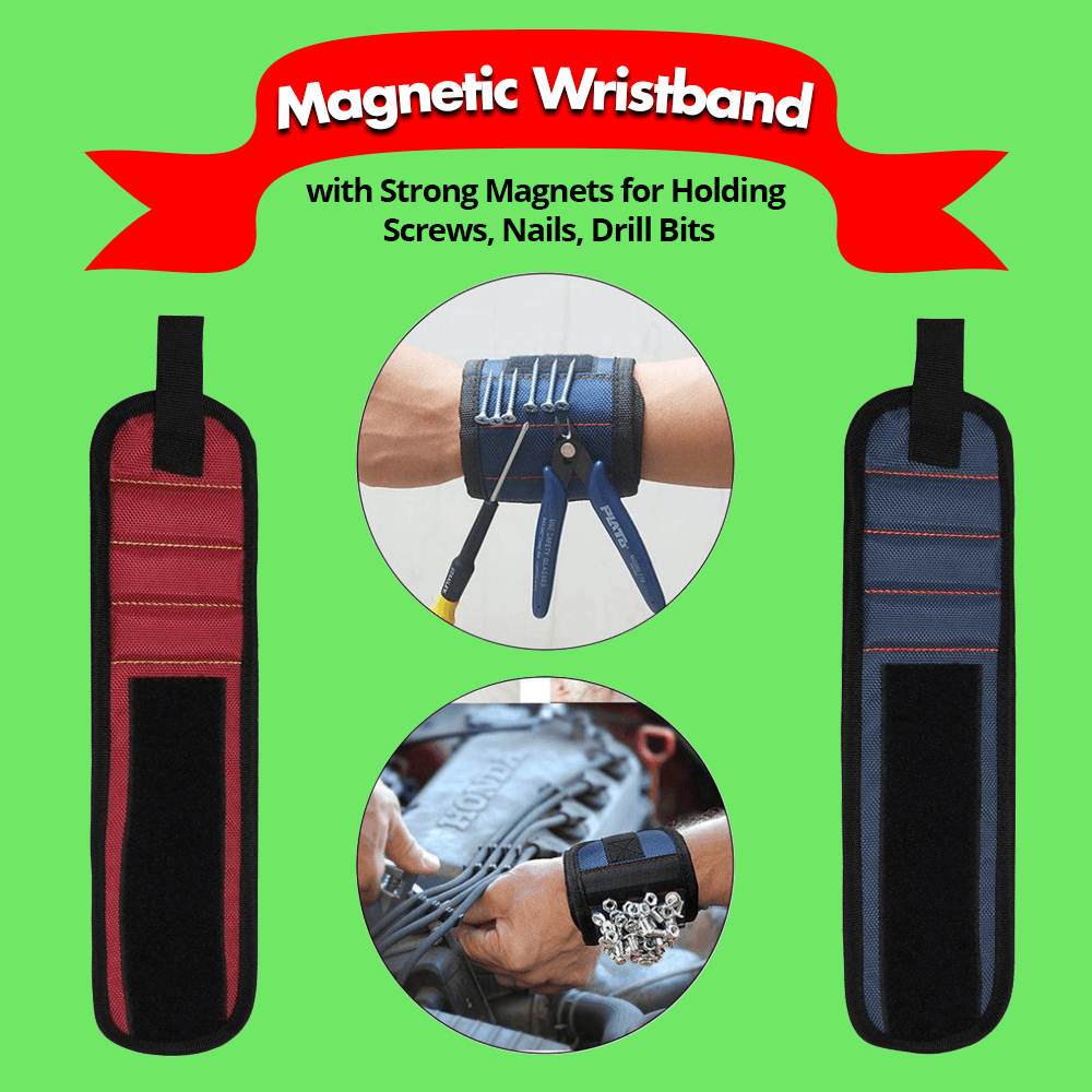 Magnetic Wristband with Strong Magnets for Holding Screws, Nails, Drill Bits