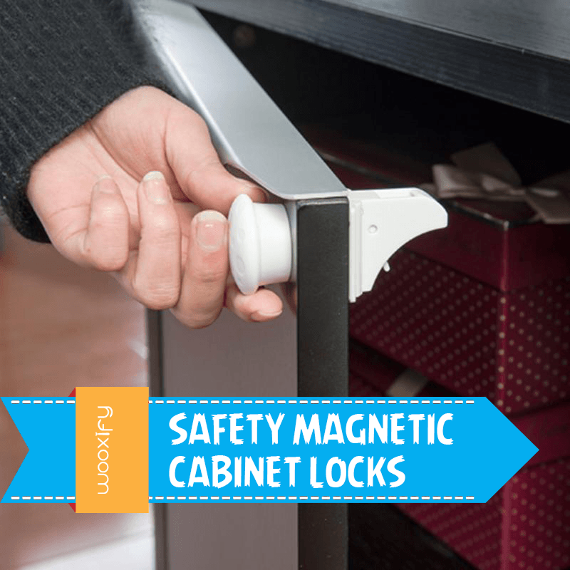 Safety Magnetic Cabinet Locks - No Drilling Required (4 locks + 1key)